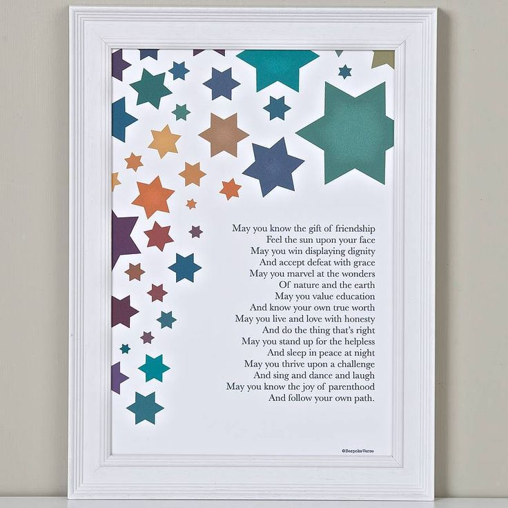 Wishes For A Child Poem Print from notonthehighstreet.com
