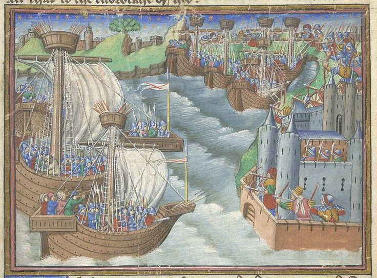 Detail of a miniature of the Christian fleet approaching Gaeta with archers poised to defend the city, from the Romance of the Three Kings' Sons, England (probably London), c. 1475 – c. 1485