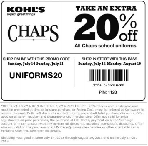 20% OFF Kohl's Printable Coupon