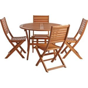 Garden Furniture 4 Seater round wooden folding garden tables - creditrestore