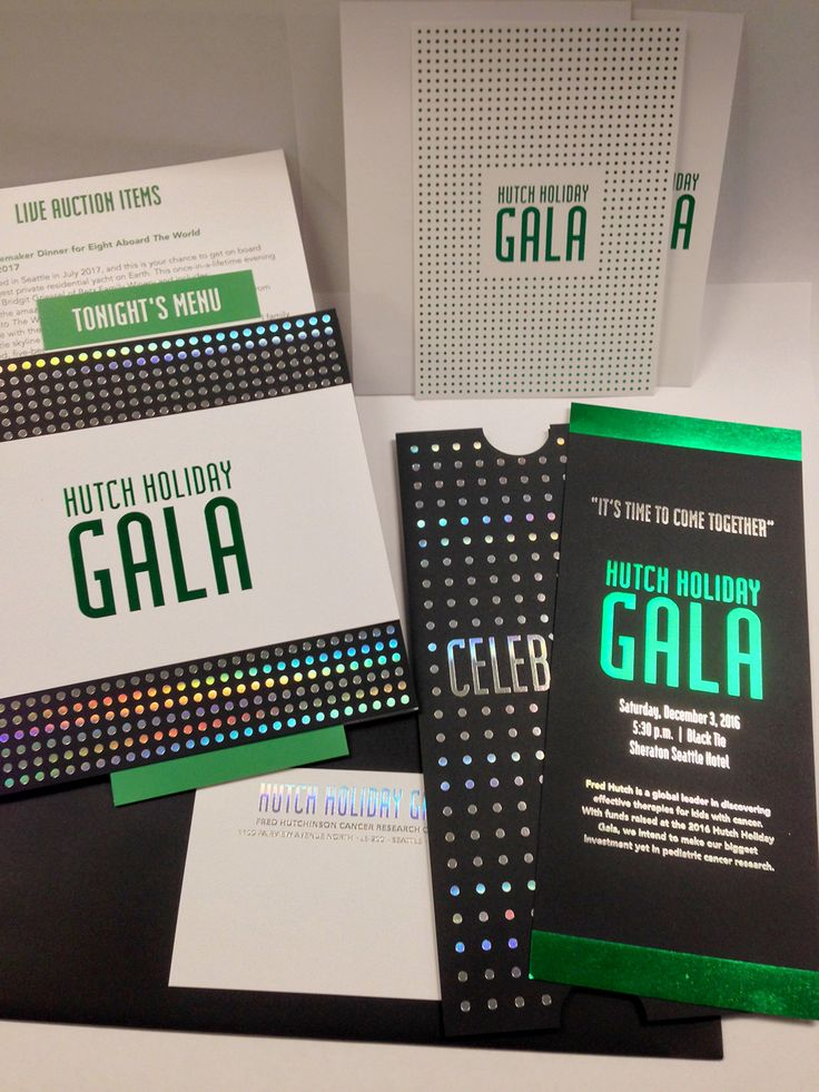 2016 Hutch Holiday Gala Hutch Holiday Gala Green and Holographic foil on black paper. Printer: @tccprint TCC Printers, Seattle, WA http://www.thecopycompany.com/