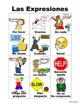 Spanish expressions in picture form with Spanish labels.  Great for helping your students learn the language without translation in the class!