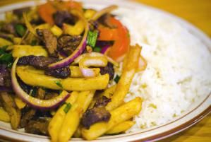 Lomo Saltado - Peruvian stir-fried Beef and French Fries