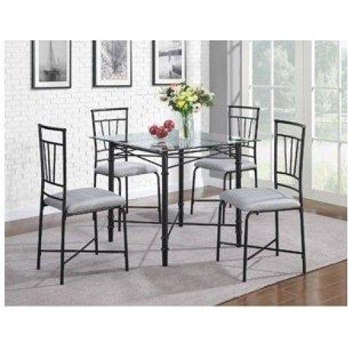 5 piece delphine glass top metal dining set black modern glass top - Metal Dining Room Tables