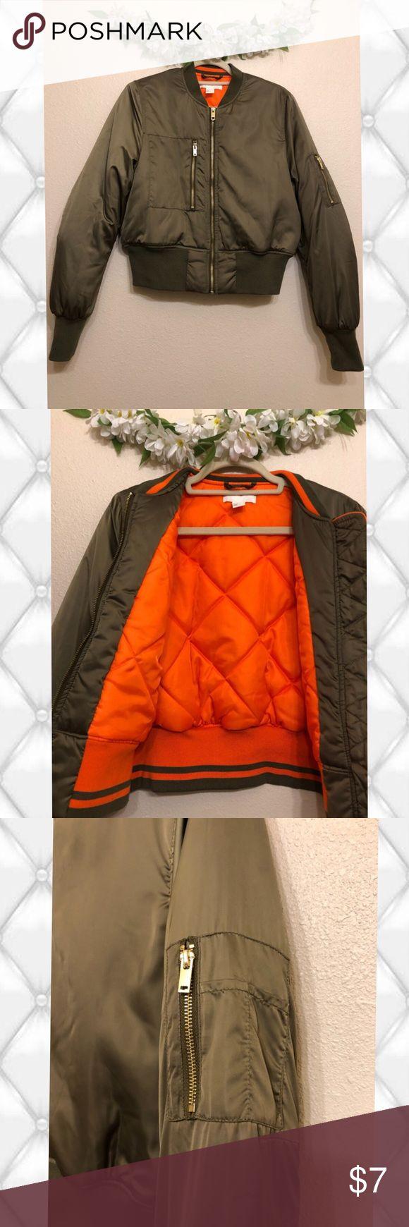 Army Green Satin Bomber Jacket Cute bomber jacket with