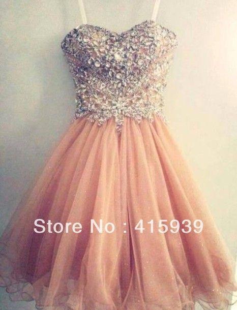 Correa de espagueti foto Real vestido de fiesta corto cristal Color Coral WH329