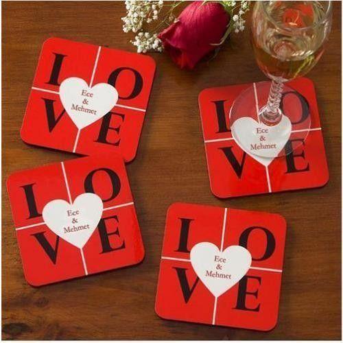 Love Bardak Altlıkları - Aşıklara Özel 4'lü Set