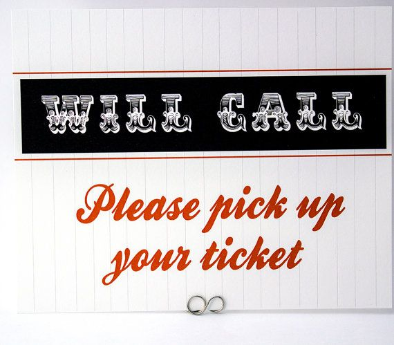 Will Call Sign  Baseball Football or Sports Wedding Place Card Table Sign by Bellus Designs on Etsy, $25.00