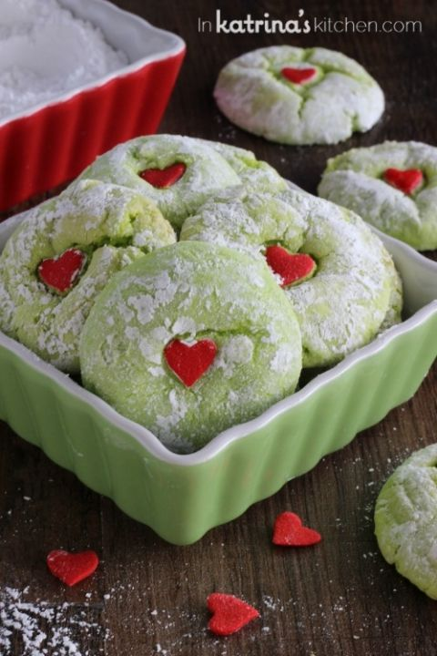Grinch Cookies - add 1 cup choc chips and 1 cup Andes creme de Menthe baking chips: