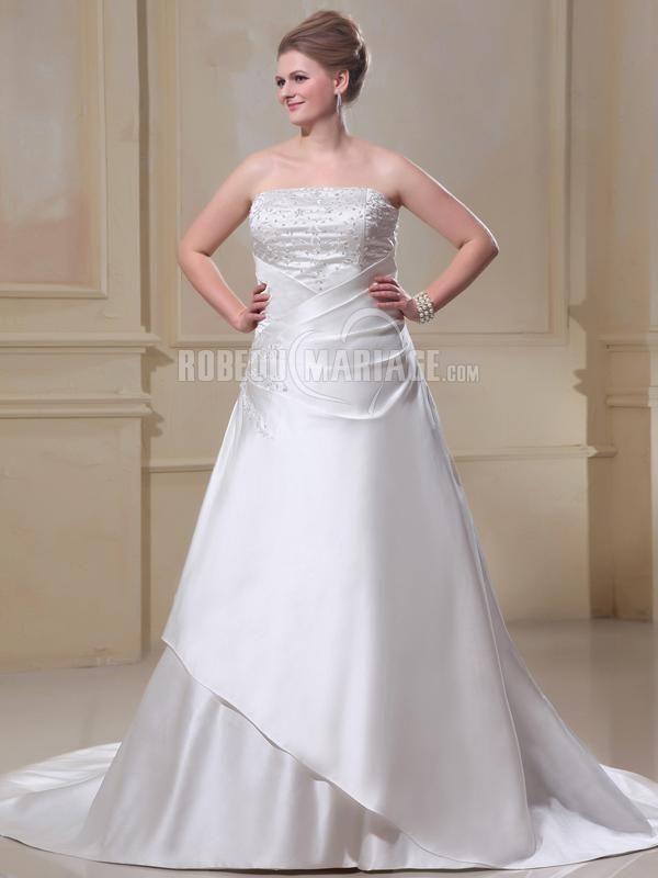 Robe de mariée de grande taille robe bustier en satin ornée de broderie et de paillettes [#ROBE2013055] - robedumariage.com