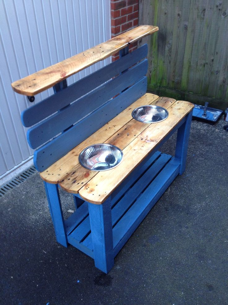 Children's wooden pallet mud kitchen