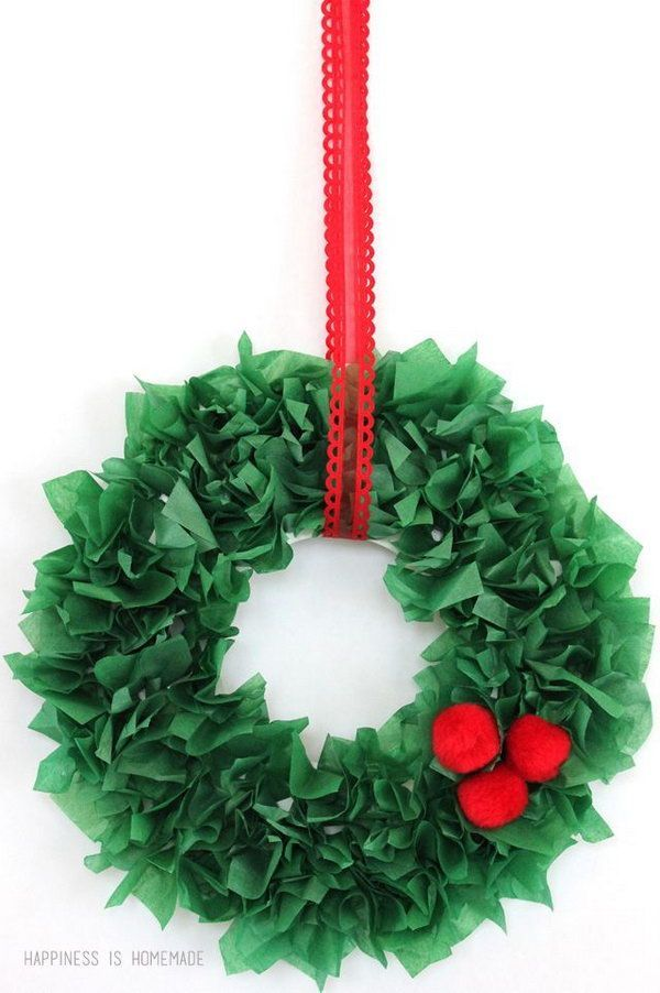 These tissue paper wreaths are easy and inexpensive to make, and they make great homemade holiday gifts for the kids to give to Grandma! http://hative.com/creative-tissue-paper-crafts-for-kids-and-adults/