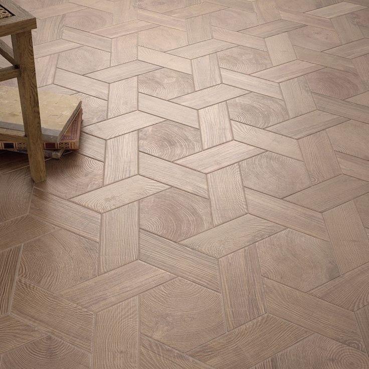 Hexagontegel houtlook marron mat wand- en vloertegel 17,5 x 20 cm per m2
