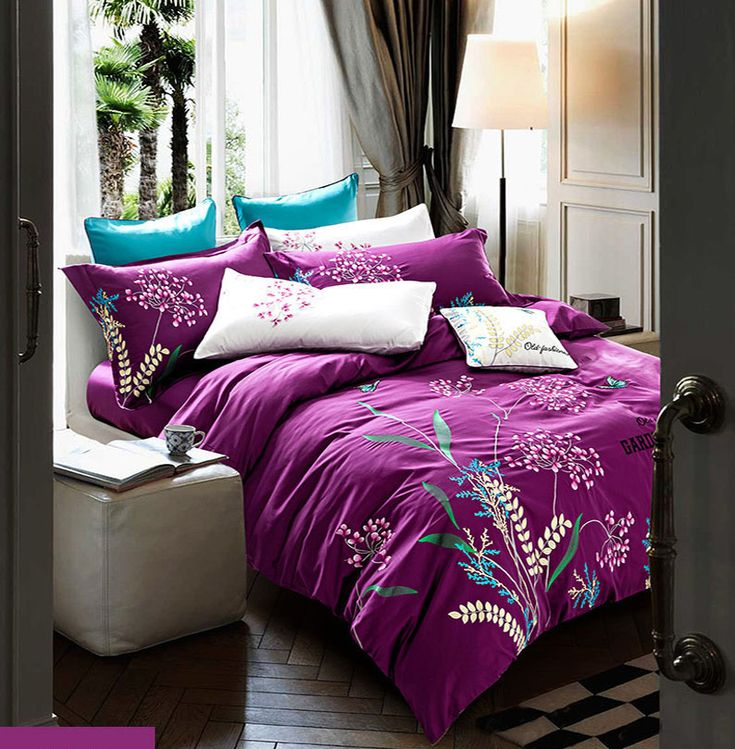 Find More Bedding Sets Information about Embroidered bedding sets pure cotton bed sets queen king size purple bed clothes plants flowers 4pcs bed linens set hot 5847,High Quality bed linen set,China cotton bed set Suppliers, Cheap bed set from Bedding World on Aliexpress.com