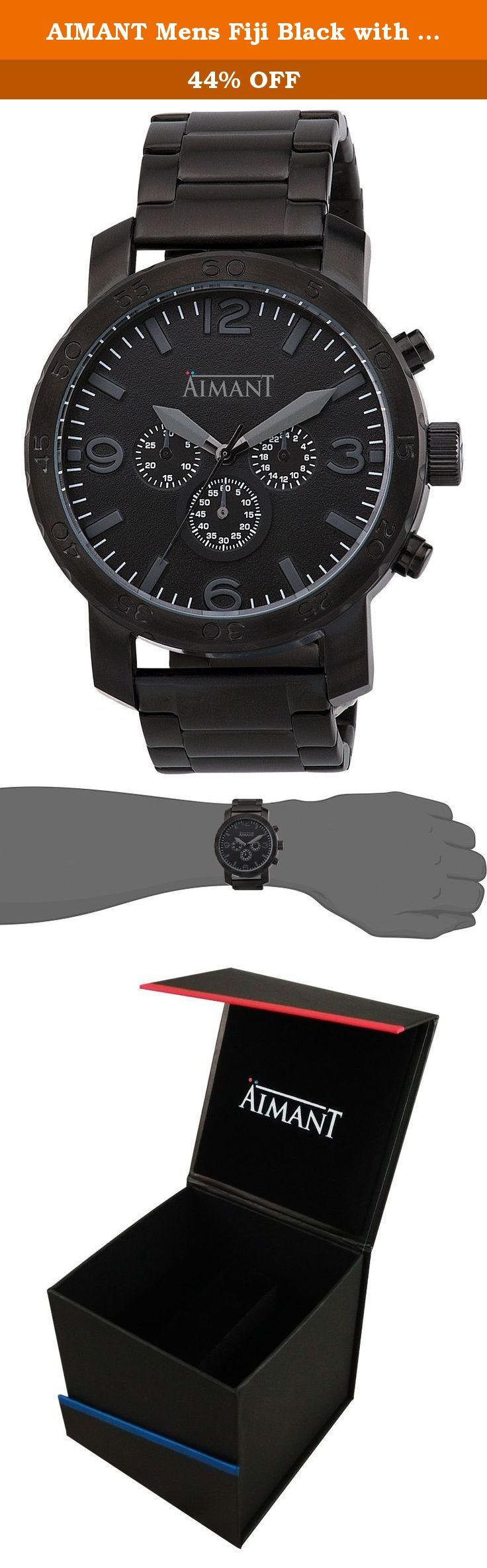 AIMANT Mens Fiji Black with Black Stainless Steel Bracelet Watch GFI-130S1-11. The Fiji familyÍs design takes its casual spirit from a city surrounded by the sea where traditional and modern architecture is evident. In this line the leather and metal bands from the classic world, complemented with secondary dials and oversized crowns may be appreciated. A state of the art look which will transform a simple blue jean combined with a t-shirt into a clothing item.