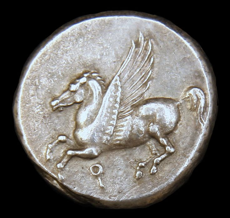 Silver Stater. Pegasus- a winged horse which was born from the blood of the Gorgon. Athena- warrior strength, intelligence, wisdom, moderation in her habits, Goddess of the arts and intelligence. Origin: Ancient Greece | Date: 350 - 306 BC |  Denomination: 8.5 grams. See more at londoncoin.com