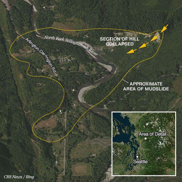 Mudslide-locator Map. Oso, WA. 3/26/2014