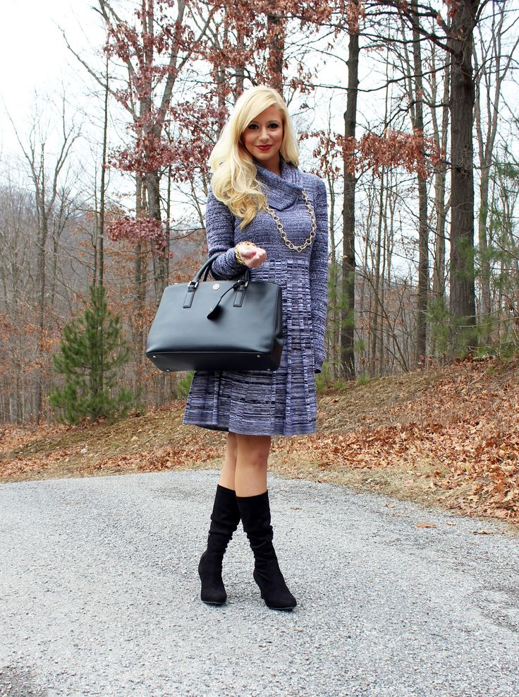 The Perfect Cowl Neck Sweater Dress and Boots/ Winter Fashion