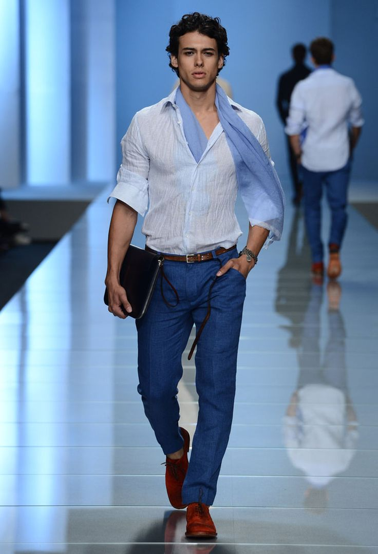 Rodrigo At Ermanno Scervino S/S 2013 Sea blue + brick red pairing