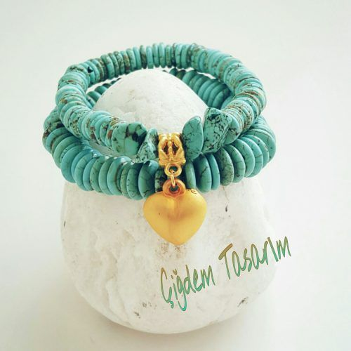 Turquoise Bead Bracelets with Heart Charm. Chiki Design