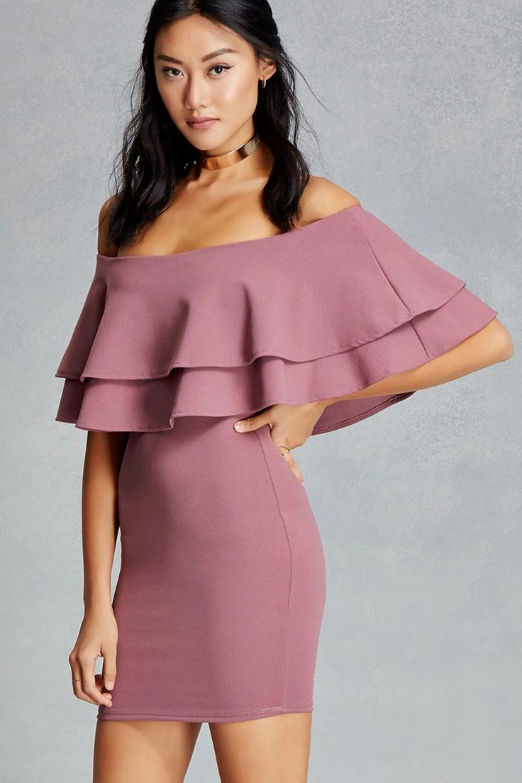 A textured knit mini dress featuring a layered flounce top, an off-the-shoulder design, and a bodycon silhouette. This is an independent brand and not a Forever 21 branded item.