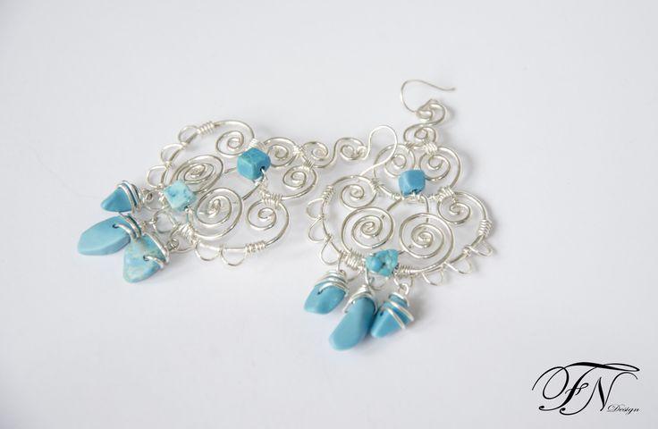 wire wrapped earrings, silver