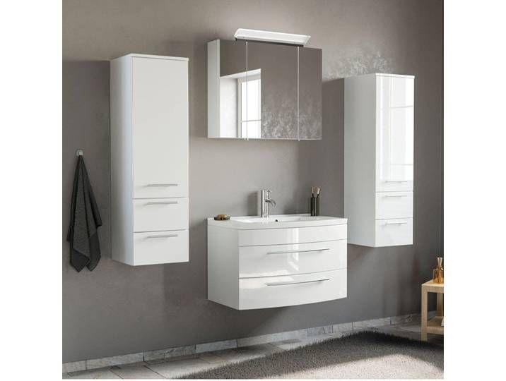 Badezimmer Waschplatz Set Hochglanz Weiss Mit 80cm Mineralguss Waschtis Bathroom Bathroom Lighting Mirror