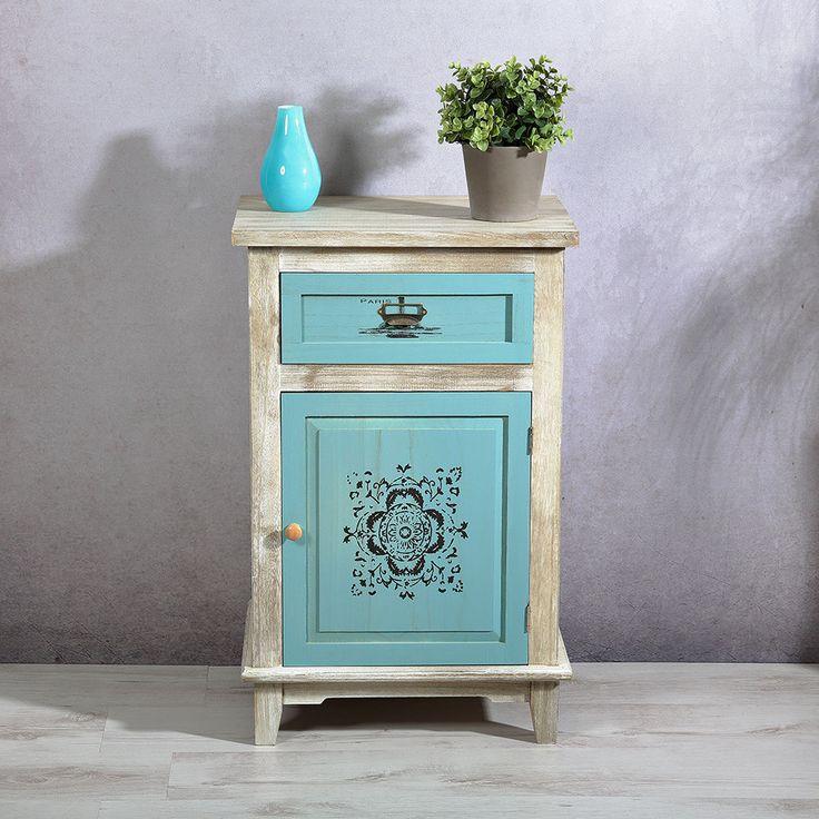 Shabby Chic Kommode blau + Schublade / Tür + Aufdruck Konsole Türkis | eBay