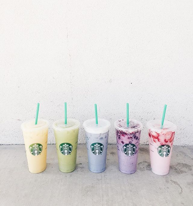Ermergerd! Tasting the rainbow with the squad. Think I just unlocked  status. ❤️ How to order each one:  #PinkDrink: Strawberry Acai Refresher replacing water with coconut milk //  #PurpleDrink: Passion Ice Tea with soy milk, vanilla syrup a
