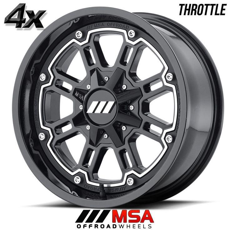 4 MSA Throttle 16x7 4x137.0 Machined w/Black OFST:0mm 16 Inch Rims 16X7 Wheels