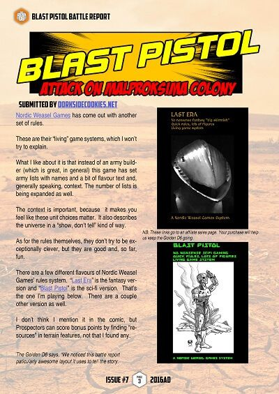 Dorkside Cookies Blast Pistol battle report  #thegoldend6 Issue Seven