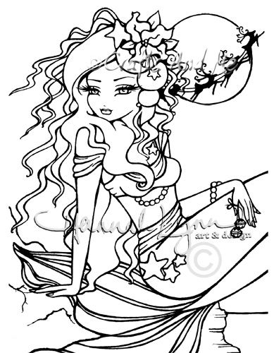 eve mermaid watermarkjpg - Mermaid Coloring Pages Adults