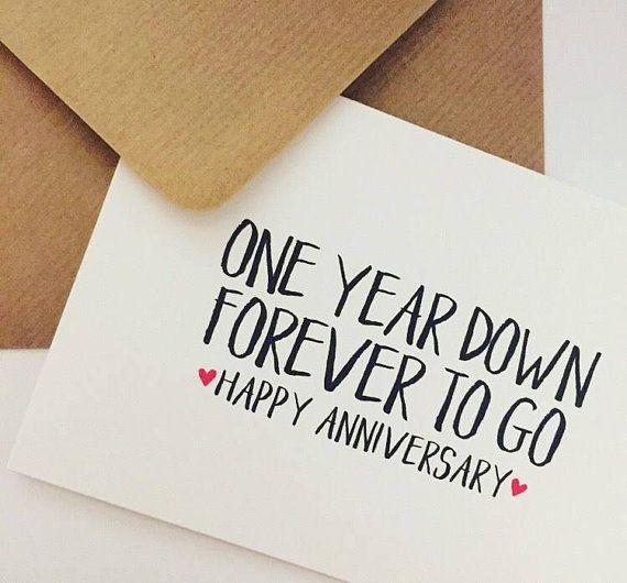 1st Year Wedding Anniversary Card One Year Down Forever To Go Happy Anniversary 1st Anniversary Cards Happy One Year Anniversary Anniversary Cards Handmade