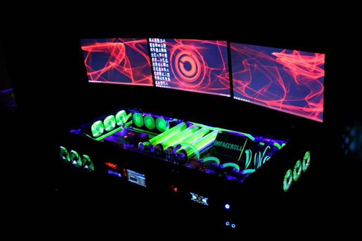 My computer rig tower pc gaming setup liquid cooled red wall paper www.facebook.com/imfacerollgaming www.youtube.com/user/imfacerollpcgaming
