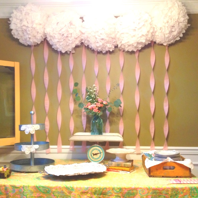 baby shower backdrop for a tablescape use paper umbrellas on tables - Baby Shower Tablescapes Ideas