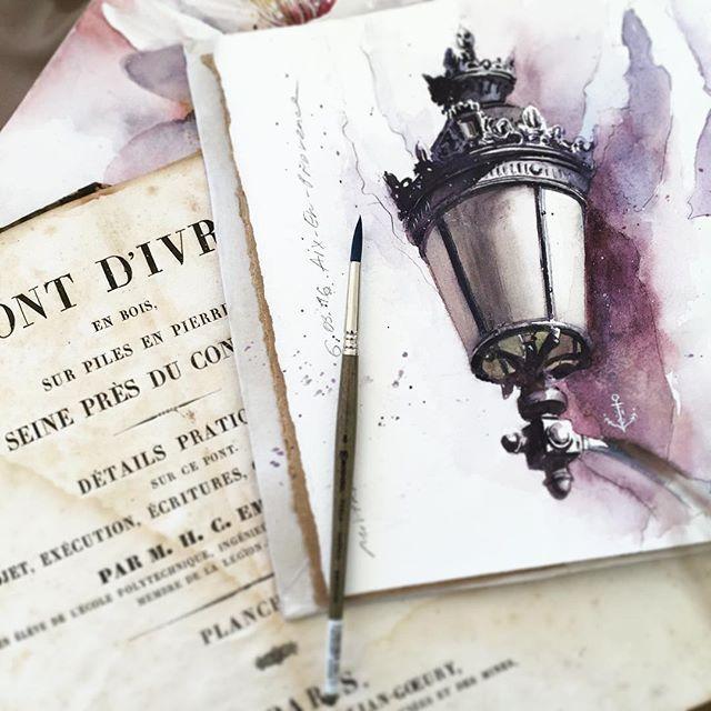 juliabarminova First plein air drawing in new sketchbook from Aix-en-Provence ⚜ #watercolorprovence_jb ️Рисование в дороге.
