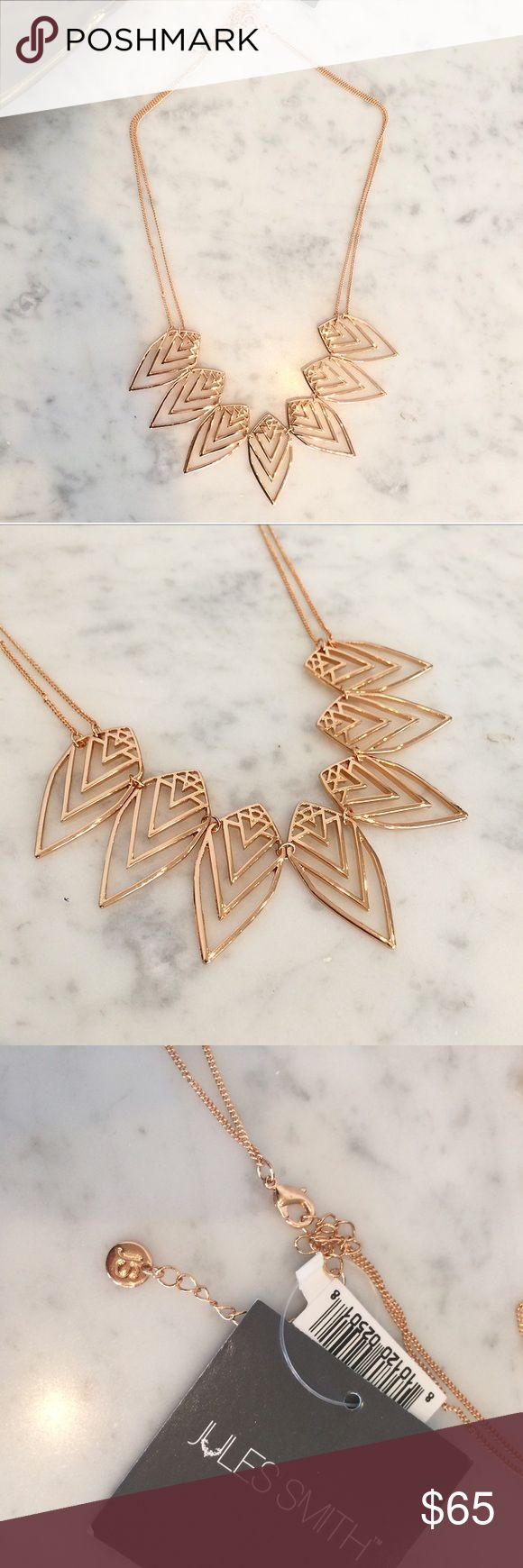 Jules Smith rose gold leaf necklace New! Jules Smith 14 karat rose golden plated geometric leaf statement necklace, double stranded with adjustable length lobster clasp closure. It's a great tone for fall/winter and will elevate any outfit. No trades. Jules Smith Jewelry Necklaces