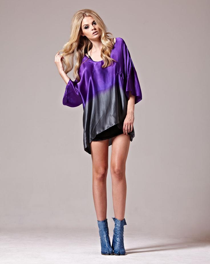 Empire Rose Partisan Top in Violet Silk Satin Ombre