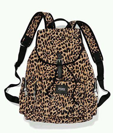 Victorias Secret PINK Backpack Leopard Cheetah Canvas School Handbag Book Bag ToteSold Out