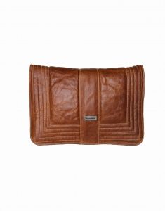 Stunning genuine brown leather clutch bag in tobacco color with decorative piping effect. Part of the Thandana Collection. Buy it from Wave2Africa - an online gift and decor boutique.