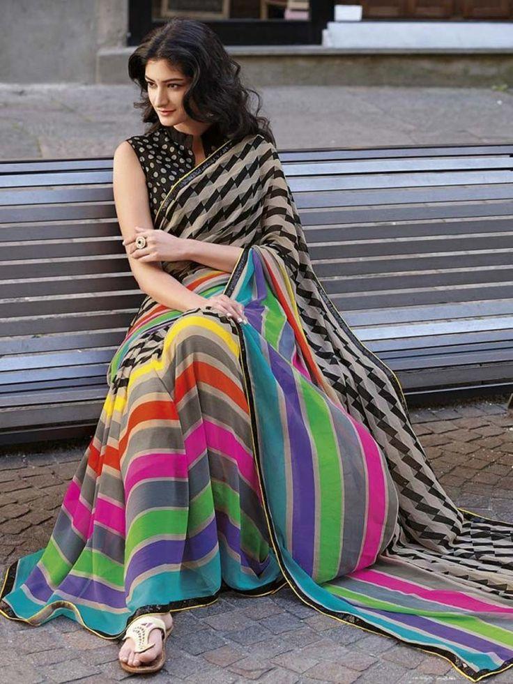Multicolor Printed Designer Saree in Georgette