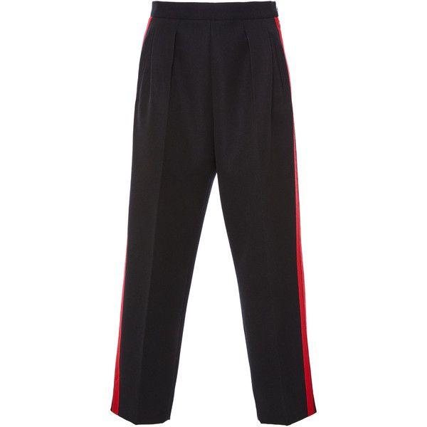 Maison Margiela Tuxedo Stripe Trousers (€930) ❤ liked on Polyvore featuring pants, straight leg pants, tuxedo stripe pants and straight leg trousers