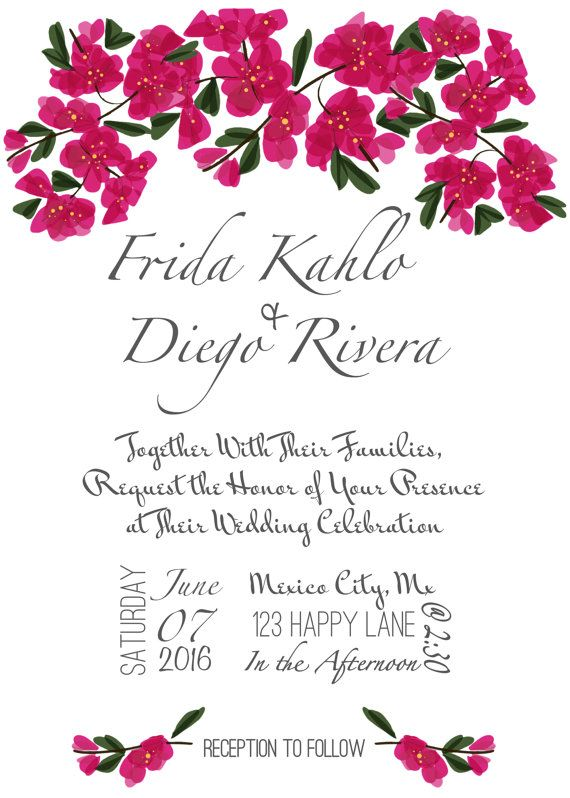 Bougainvillea Wedding Invitation and RSVP by DesertMayaDesigns