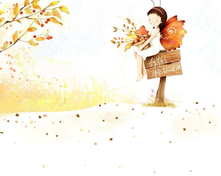 Digital Art - Kim Jong Bok Illustrations(Vol.03) - Cartoon Cute Fairy Girl   1280*1024 NO.6 Wallpaper