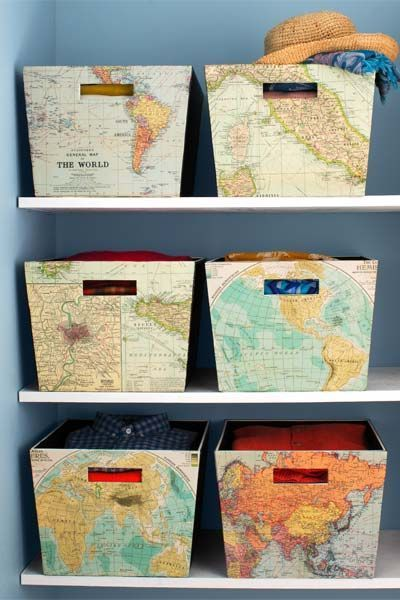 Here, off-the-shelf storage bins convey color, pattern, and travel inspiration with the help of old maps, matte-finish Mod Podge glue (which becomes transparent when dry), a paint brush, and a putty knife to smooth out bubbles.