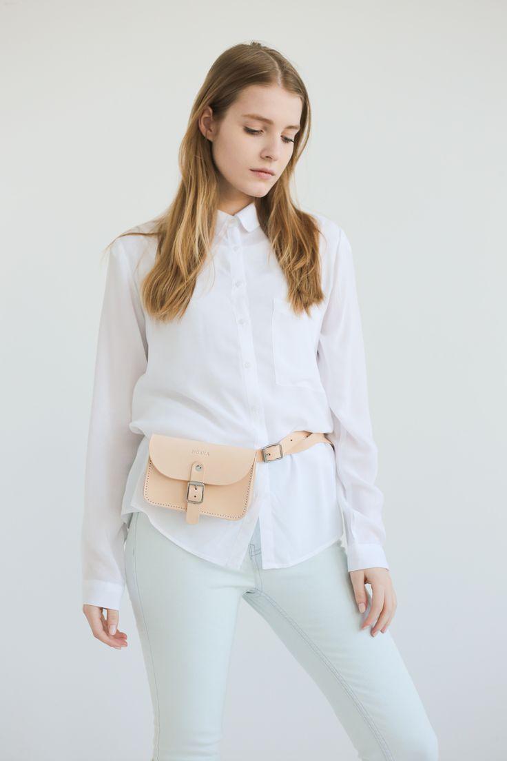 Leather Belt Bag (Natural) - NOSKA SHOP #noskashop #LeatherCollection #handmadeinpoland #beltbag #vegetabletanned #natural