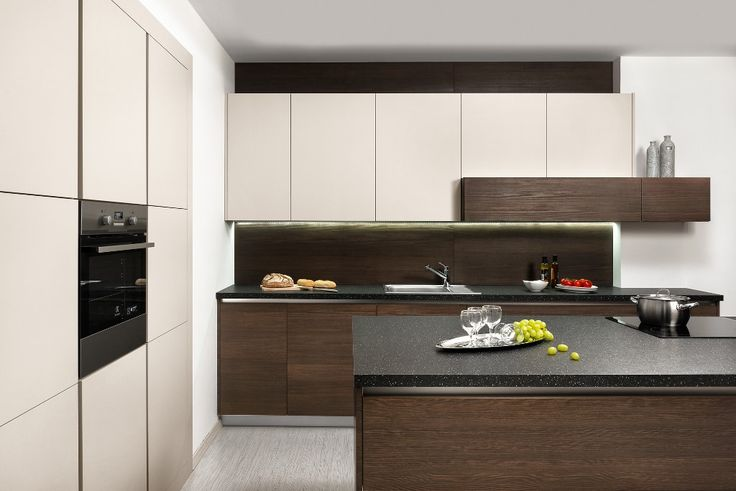 moderna kuchyna HANAK na mieru, chmpagne v kombinacii s tmavou dyhou