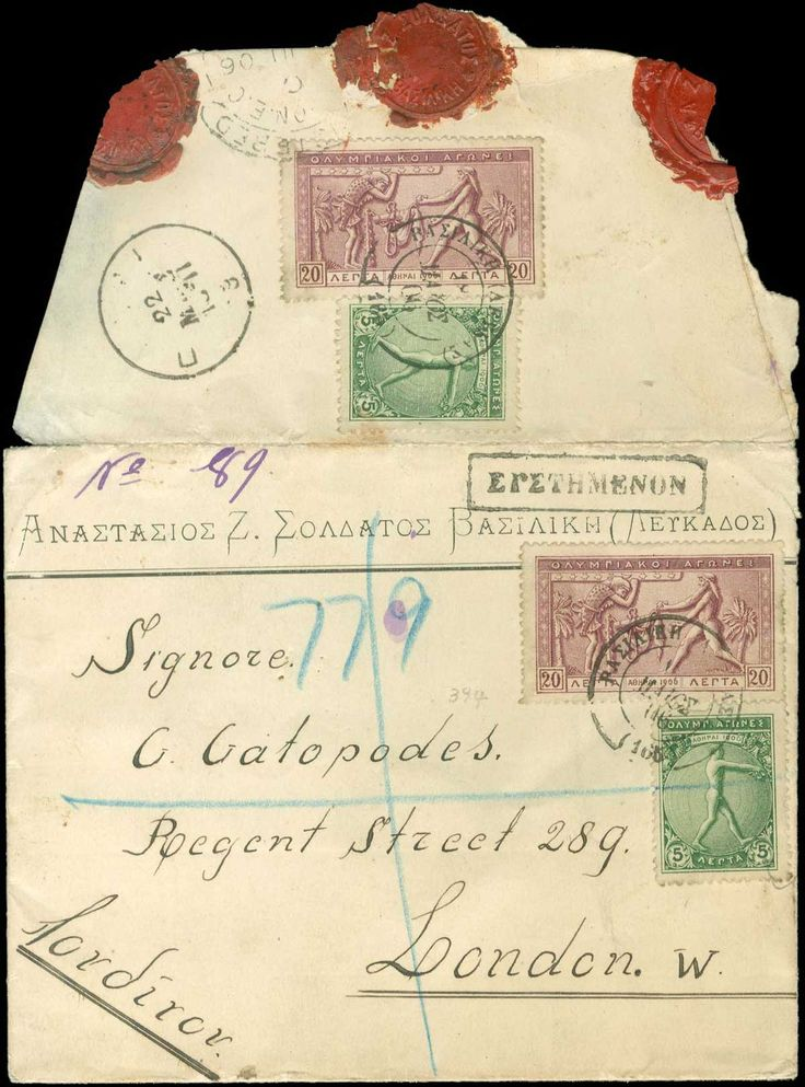 "Registerered commercial cover fr. with 2x5l.+2x20l. 1906 Olympic Games canc.""ΒΑΣΙΛΙΚΗ (ΛΕΥΚΑΔΟΣ) (165)*18 ΜΑΙΟΣ 06"", via ""ΛΕΥΚΑΣ"" and ""ΠΑΤΡΑΙ*22.ΜΑΙΟΣ"", arr. ""LONDON*?.JU.06"". Rare. (Hellas 192+194)."