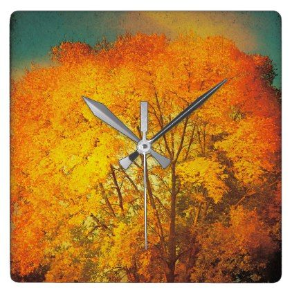Fall Autumn Colors Tree Leaves Orange Clock - photography gifts diy custom unique special