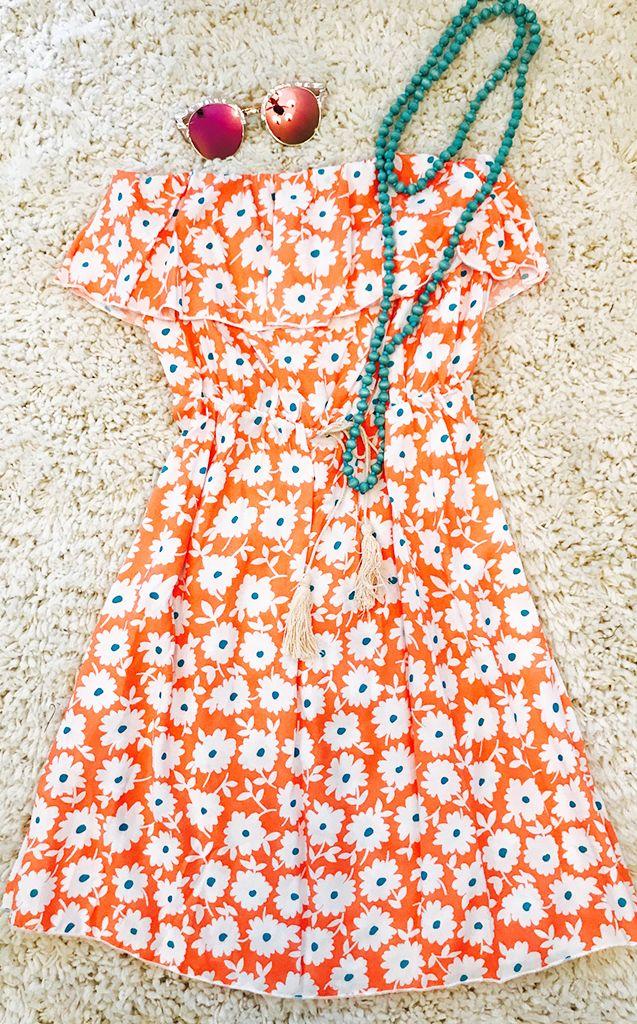 #strapless, #sundress, #summer, #beach #dress, #sundresses #women, #sundress #outfit, #sundress #summer, #casual, #comfy #cute, #wedding, #shower, #coral, #orange, #peach #floral, #strapless